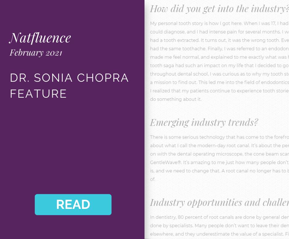 Natfluence Sonia Chopra DDS Feature